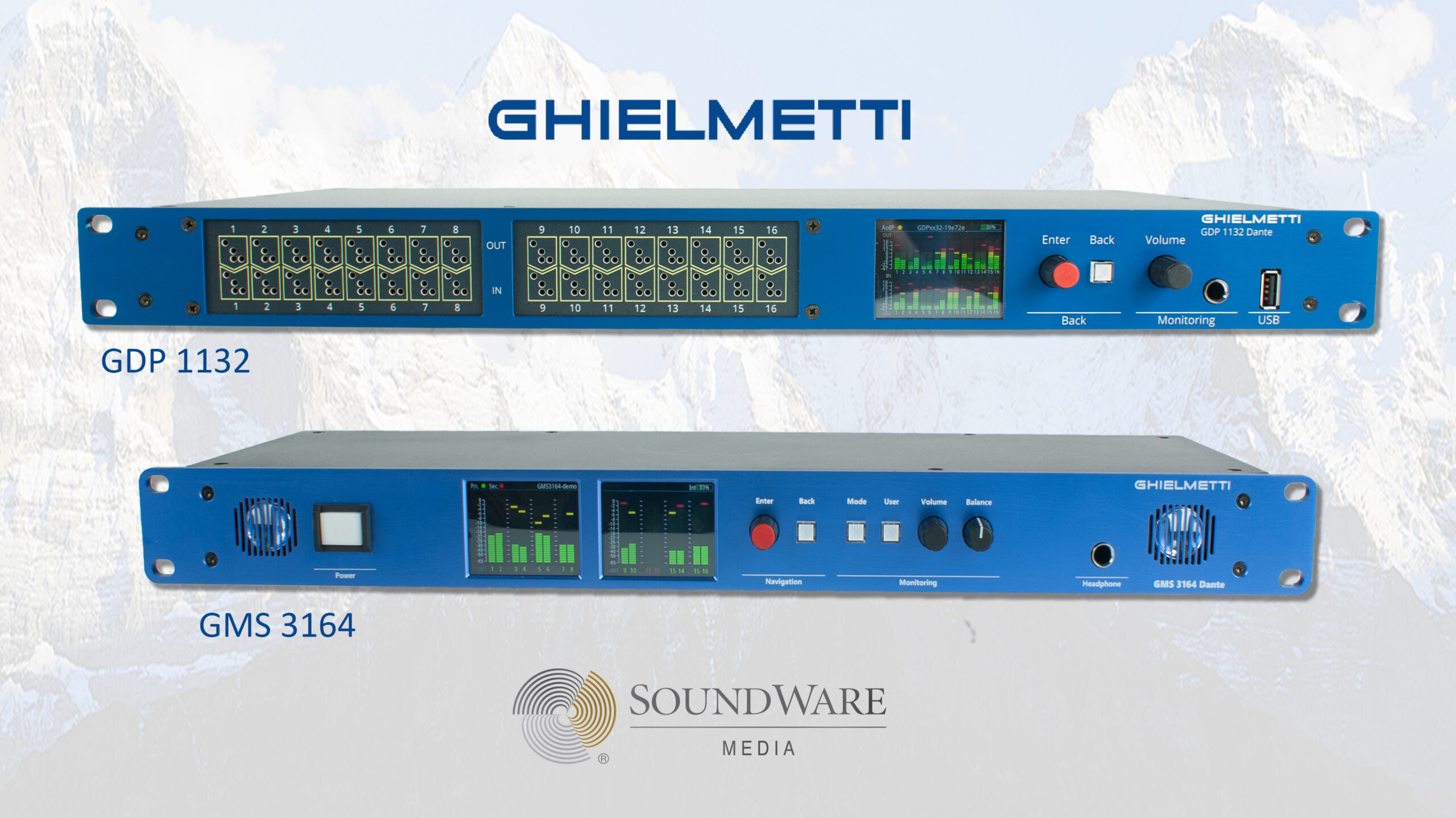 Ghielmetti presenta su nuevo monitor para audio en red GMS 3164 Dante Plus y el nuevo patchbay GDP 1132 Dante